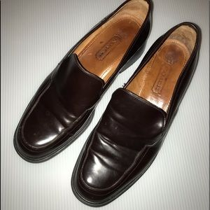 Coach brown leather loafers, made in Italy